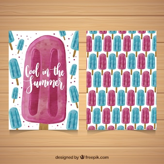 Great card with blue and pink ice creams in watercolor style