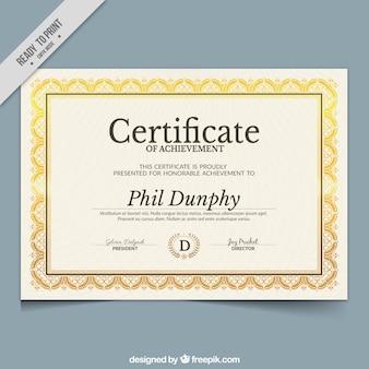 Grande certificato di partecipazione con cornice ornamentale