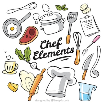 Great collection of hand-drawn chef items Premium Vector