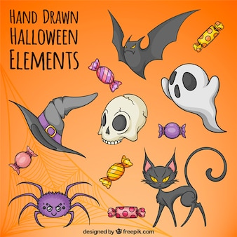 Great collection of hand-drawn halloween elements
