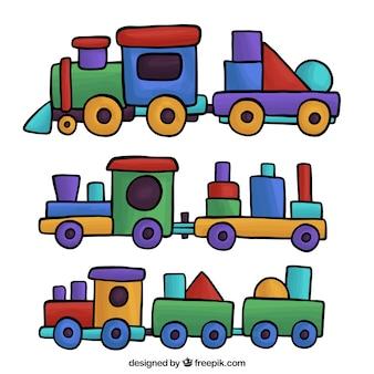 色とりどりのおもちゃの列車の素晴らしいコレクション