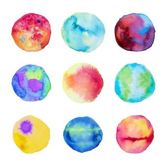 水彩スタイルの9つの抽象的な汚れの偉大なコレクション