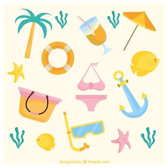 파스텔 색상의 여름 아이템 컬렉션