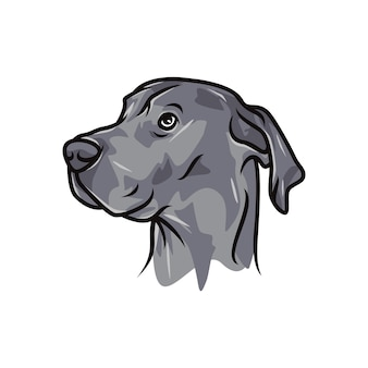 グレートデーン犬 - ベクトルロゴ/アイコンイラストマスコット