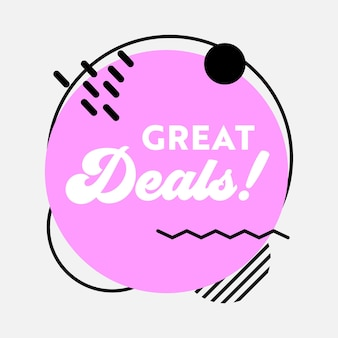 Great deal sale banner in funky style with typography for digital social media marketing advertising