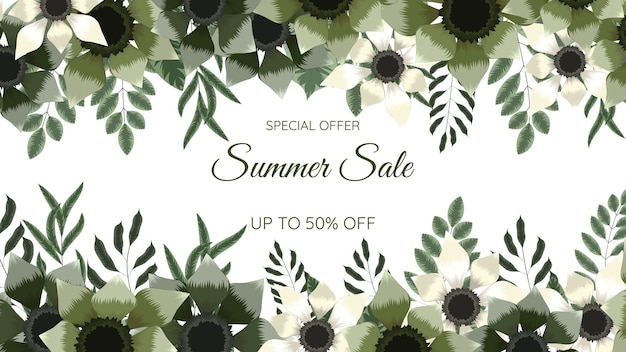 Great discount banner design abstract natural summer sale background
