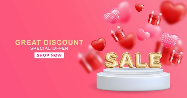 Great discount sale banner design in 3d illustration on pink background sale word ballon on podium