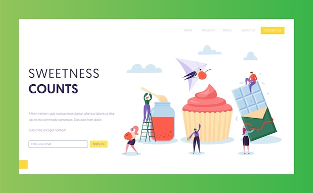 Great diversity of sweetness such as jam, chocolate and cupcake landing page. character make candy, confection and sweet pastries website or web page. flat cartoon vector illustration