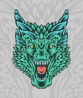 Great dragon head illustration with horns