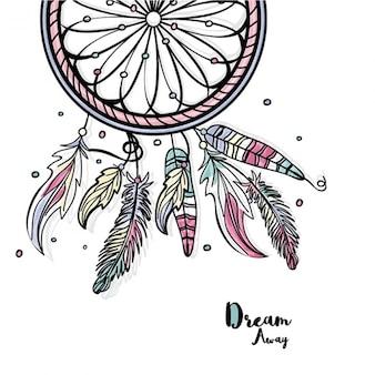 Большой dreamcatcher фон с цветными деталями