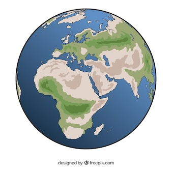 Great earth globe in hand-drawn style