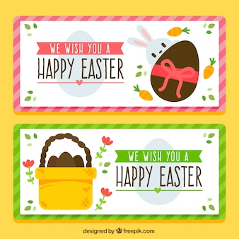 Great easter banners with rabbit and eggs
