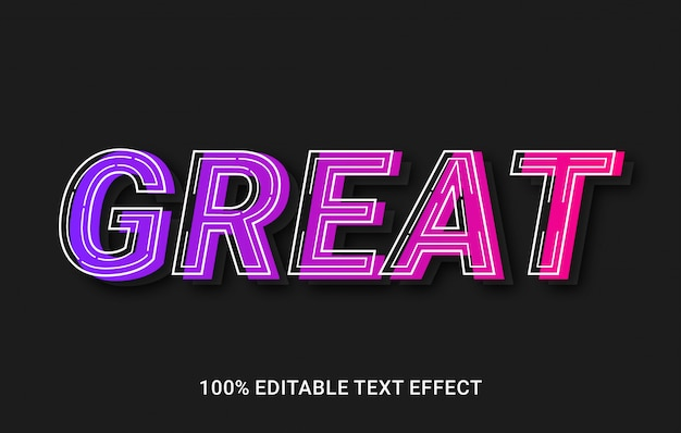 Great editable text effect with gradient color