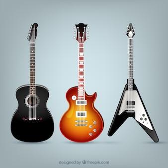 Великие электрические гитары в реалистичном дизайне