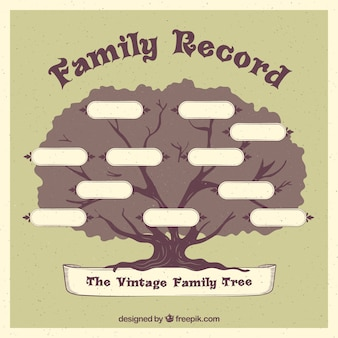 Great family tree in retro style