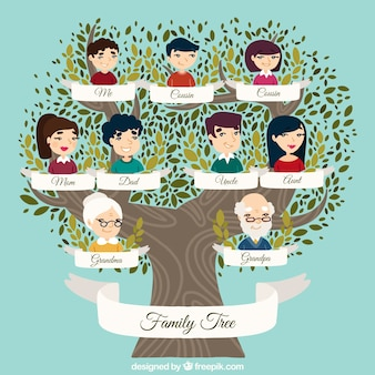 Great family tree with decorative leaves in green tones