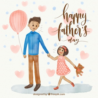 그의 딸과 함께 남자의 위대한 아버지의 날 배경