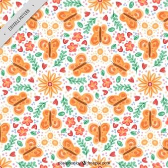 주황색 나비와 함께 큰 꽃 패턴