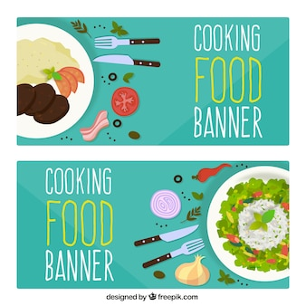 Great food banners in flat design