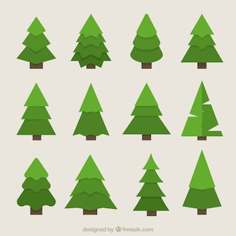 Great geometric fir trees in green tones