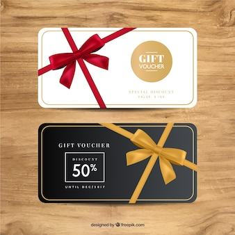 Great gift vouchers with decorative ribbons