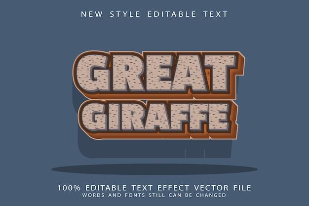 Great giraffe editable text effect emboss cartoon style