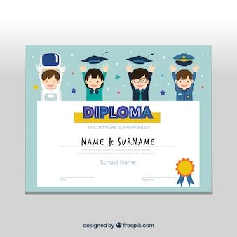 笑顔の子供たちと素晴らしい卒業証明書
