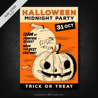 Great halloween flyer with a pumpkin and bats