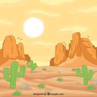 Great hand-drawn wild west background with rocky mountains