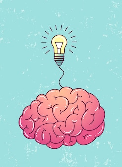脳と電球の素晴らしいアイデア