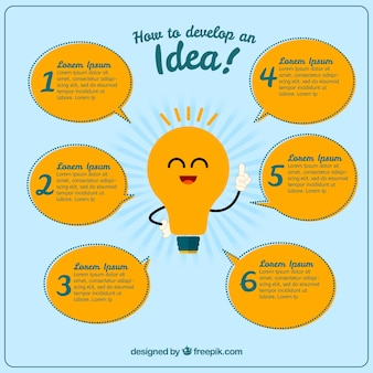 Great infographic with a smiling bulb and six speech bubbles