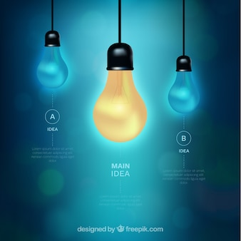 Great infographic with three bulbs and bokeh effect