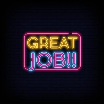 Great job neon sign vector. great job design template neon sign