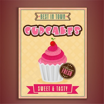Great leaflet template with delicious cupcake