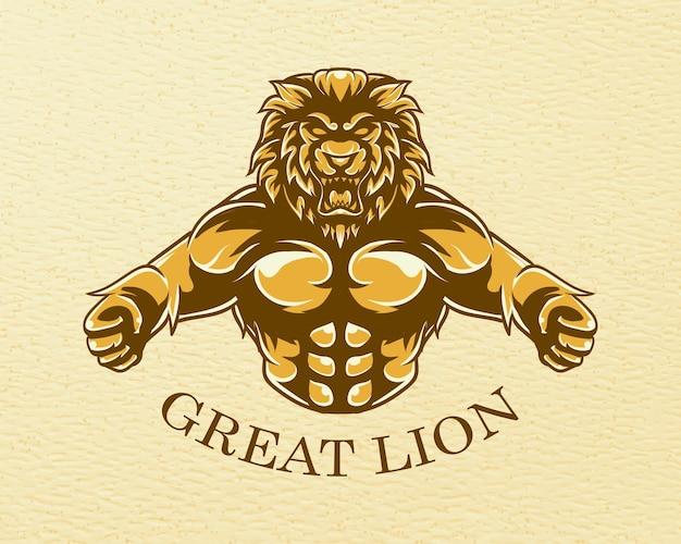 グランジテクスチャと素晴らしいライオンのイラスト