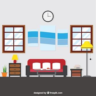 Большой гостиной с плоской мебелью