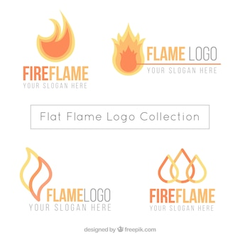 Great logos with flames in flat design