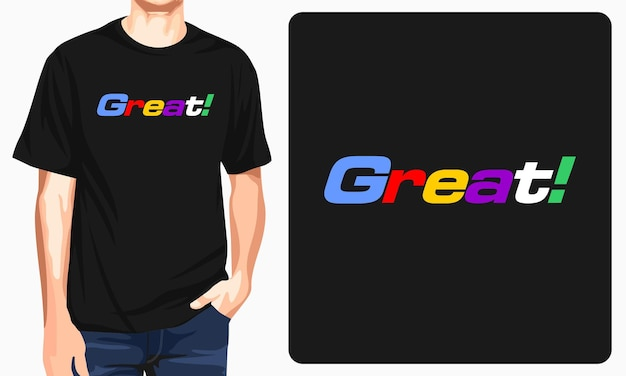 Great man black tshirt typography