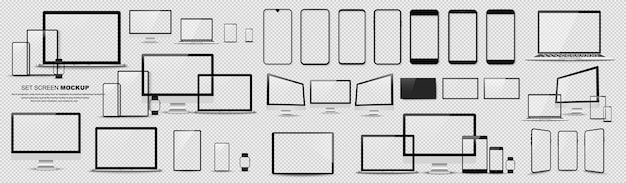 素晴らしいミニマルなデバイスセット。スマートフォン、タブレット、ラップトップ、pc、テレビのモックアップ。ベクトルコレクション