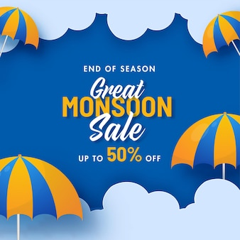 Great monsoon sale poster design with 50% discount offer and umbrella decorated on blue clouds background.