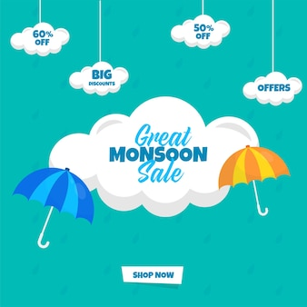Great monsoon sale poster design with best discount offer, clouds and umbrella on turquoise background.