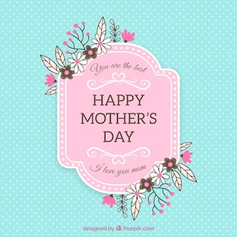 Great mother's day background with flowers and dots