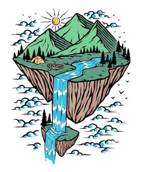 島のイラストの素晴らしい山の景色