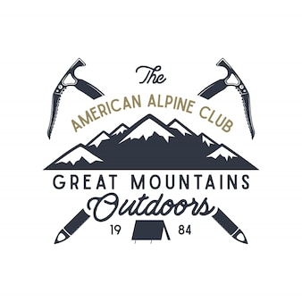 Great mountains outdoors label. vintage hand drawn travel design. for camp mugs, t shirts, prints. typography elements included. vector isolate on white