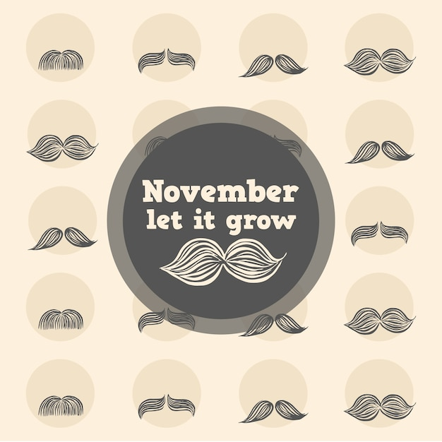 Great movember background of moustaches with different designs