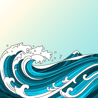 Great oriental wave ocean vector illustration.