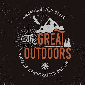 Great outdoors badge and outdoors activity insignia.