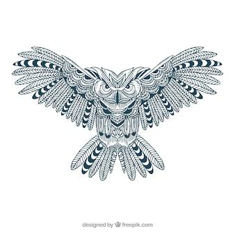 Great owl in ornamental style