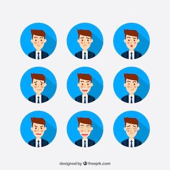 Grande pacchetto di uomo d'affari con nove diverse espressioni facciali