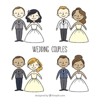 Grande pacchetto di sposi disegnati a mano